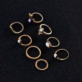 Zazzle Stackable Boho Vintage Rings Set 8pcs in Gold - www.MyBodiArt.com