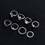 Zazzle Stackable Boho Vintage Rings Set 8pcs in Silver - www.MyBodiArt.com