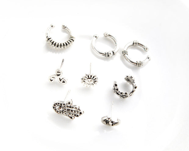 Barque Tribal Antiqued Silver Ear Cuff & Earring 8 Pieces Set