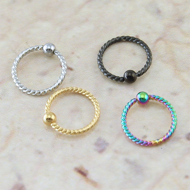 Tinkie Twisted Captive Bead Ring 18G Piercing for Daith Rook Cartilage Tragus Helix Earring - Septum Ring Hoop - Nipple Piercing - MyBodiArt.com