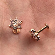 Cute Ear Piercings - Rose Gold Felicity Crystal Flower 16G Stud Piercing at MyBodiArt.com