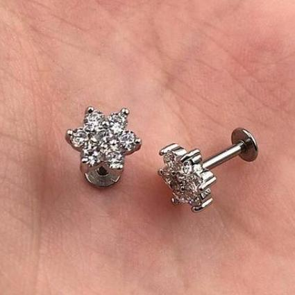 Conch Piercing Jewelry - Silver Felicity Crystal Flower 16G Stud Piercing at MyBodiArt.com