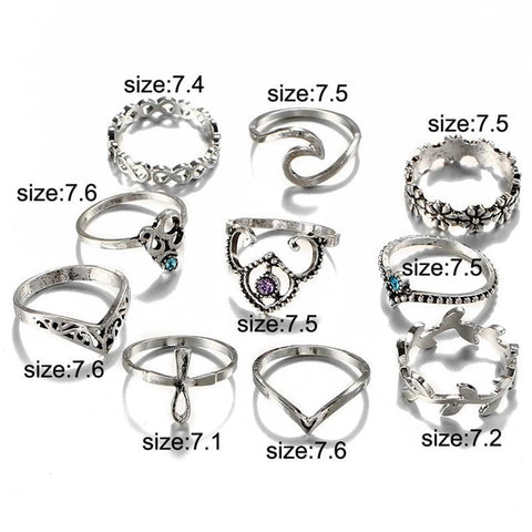 Harmony Boho Fashion Rings Set 10pcs in Silver for Teenagers - Flower Gemstone Crystal Leaf Cross Tribal Bohemian Chic RIng -  lindo anillo para adolescentes - www.MyBodiArt.com