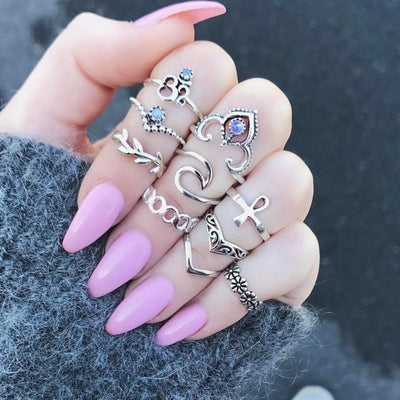 Cute Boho Fashion Vintage Ring Set for Teens Stackable Stacking Jewelry Dainty -  lindo anillo para adolescentes - www.MyBodiArt.com