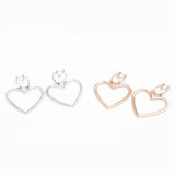 Amour Double Heart Statement Hoop Earrings in Rose Gold or Silver - www.MyBodiArt.com