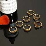 Hazel Boho Chic Rings Set in Antiqued Silver or Gold 7pcs - www.MyBodiArt.com