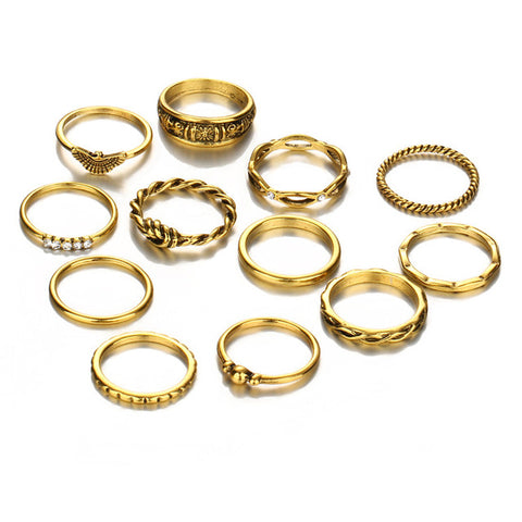 Tatianna Cute Boho Fashion Stackable Ring Set 12pcs in Antiqued Gold - www.MyBodiArt.com