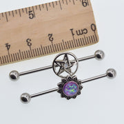 Hexx Galaxy Opal Star & Pentagram Industrial Piercing Earring Set - 14G Ear Piercing Jewelry at MyBodiArt.com