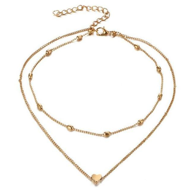 Heart Choker Necklace in Gold Double Layered at MyBodiArt.com