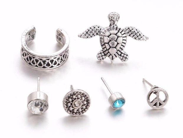 Shelly Silver Turtle 6 Pieces Earring & Ear Cuff Set at MyBodiArt.com