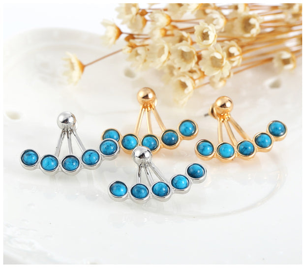 Korwa Turquoise Ear Jacket Earring in Silver & Gold  - MyBodiArt.com