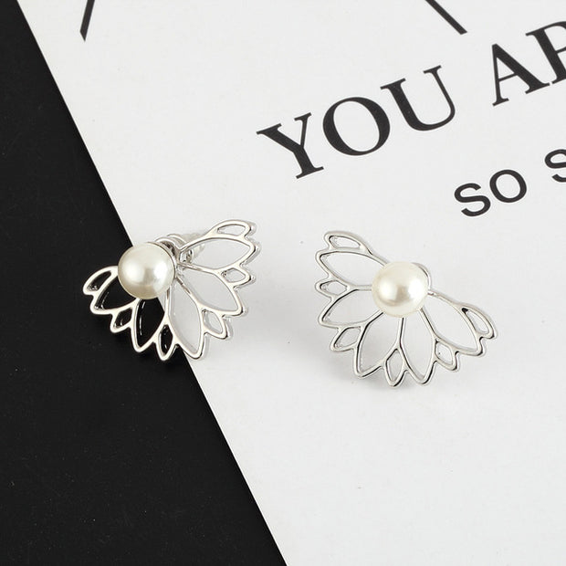 Brindille Pearl Floral Flower Ear Jacket Earring in Silver or Gold at MyBodiArt.com
