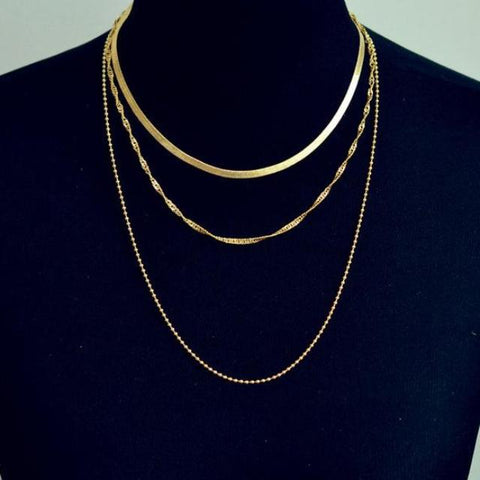 Modern Triple Layered Different Chain Choker Necklace in Gold Fancy Fashion Statement Jewelry  -  collar de gargantilla de cadena de lujo - www.MyBodiArt.com