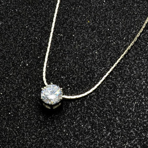 Minimalistic Simple Single CZ Crystal Pendant Floating Choker Necklace with Silver Snake Chain -  simple collar de gargantilla de cristal único en plata - www.MyBodiArt.com
