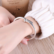 Cute Unique Modern Screw Nail Bangle Bracelet Stacked Silver - www.MyBodiArt.com