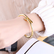 Cute Unique Modern Screw Nail Bangle Bracelet Stacked Gold - www.MyBodiArt.com
