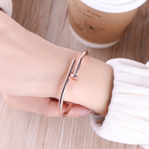 Cute Unique Modern Screw Nail Bangle Bracelet Stacked Rose Gold - www.MyBodiArt.com