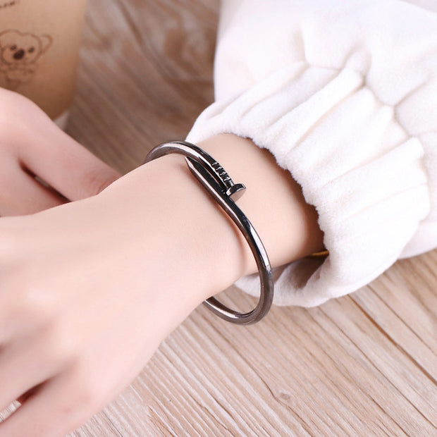 Cute Unique Modern Screw Nail Bangle Bracelet Stacked Black - www.MyBodiArt.com