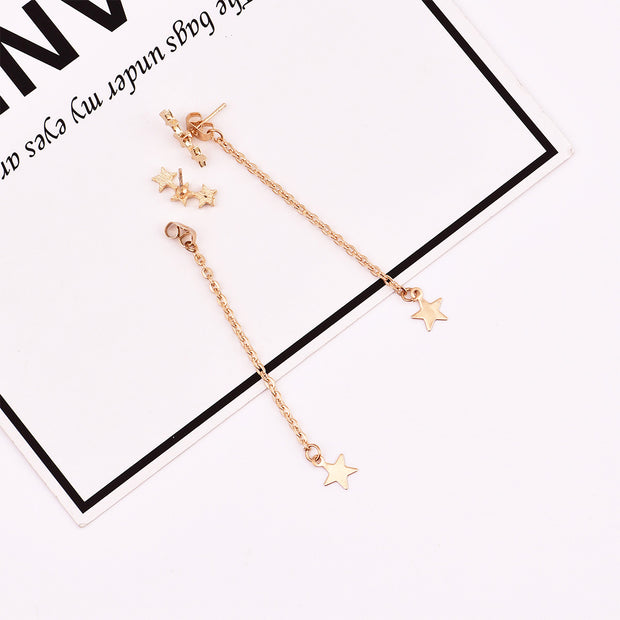 Cute Ear Piercing Ideas for Women - Unique Star Ear Climber Crawler Dangle Earrings in Gold -  pendientes de estrella - www.MyBodiArt.com