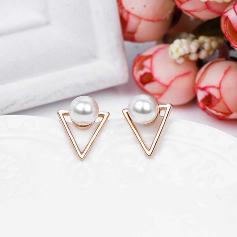 Perla Geometric Triangle Pearl Earring Studs in Rose Gold - www.MyBodiArt.com