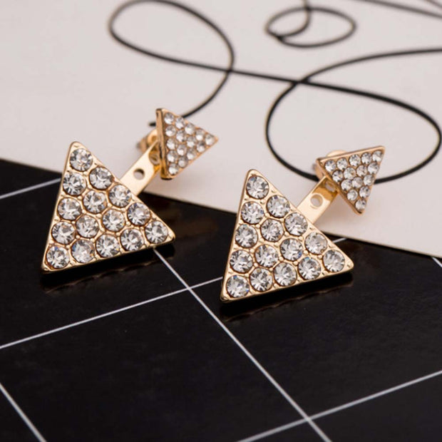 Sukiomi Crystal Triangle Ear Jacket Earring in Gold or Silver - MyBodiArt.com