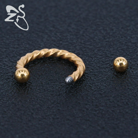 Tinkie Twisted Rope Horseshoe 16G Barbell Piercing for Septum Ring, Daith Rook Cartilage Tragus Conch Earring 16G, Eyebrow Lip Ring - MyBodiArt.com