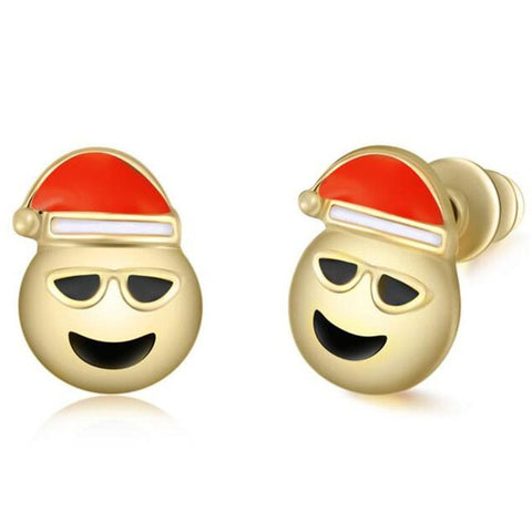 Santa Claus Cool Emoji Earring Studs Statement Ideas in Gold - Christmas Stocking Stuffers Gifts - www.MyBodiArt.com
