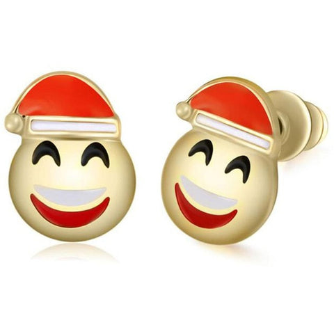 Santa Claus Smile Emoji Earring Studs Statement Ideas in Gold - Christmas Stocking Stuffers Gifts - www.MyBodiArt.com