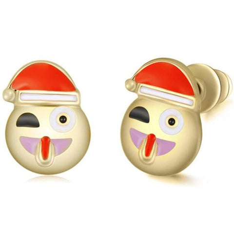 Santa Claus Face with Stuck out Tongue Emoji Earring Studs Statement Ideas in Gold - Christmas Stocking Stuffers Gifts - www.MyBodiArt.com