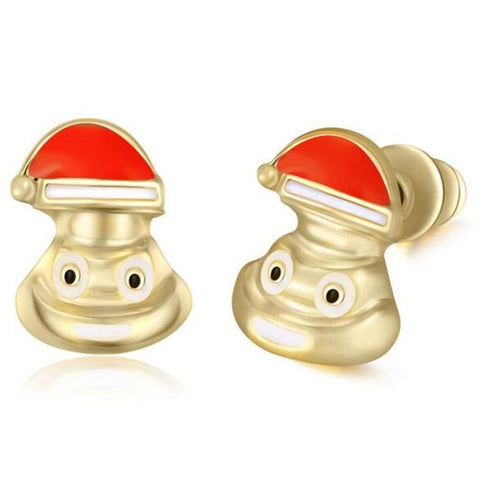 Santa Claus Poo Emoji Earring Studs Statement Ideas in Gold - Christmas Stocking Stuffers Gifts - www.MyBodiArt.com