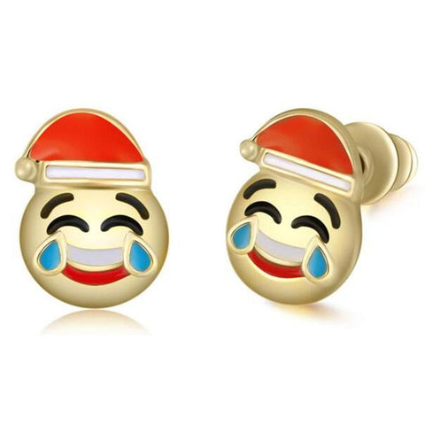 Santa Claus Tears of Joy Emoji Earring Studs Statement Ideas in Gold - Christmas Stocking Stuffers Gifts - www.MyBodiArt.com