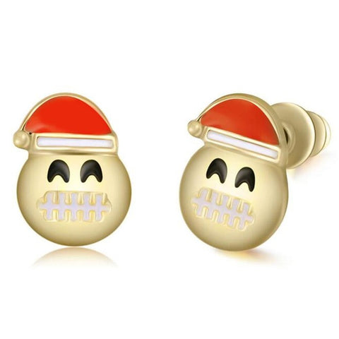 Santa Claus Grimace Emoji Earring Studs Statement Ideas in Gold - Christmas Stocking Stuffers Gifts - www.MyBodiArt.com