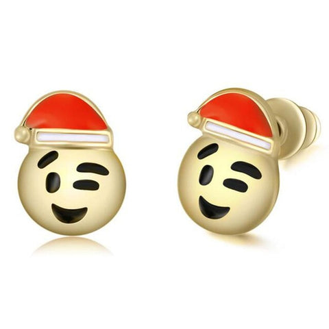 Santa Claus Wink Emoji Earring Studs Statement Ideas in Gold - Christmas Stocking Stuffers Gifts - www.MyBodiArt.com
