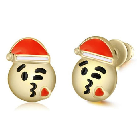 Santa Claus Kiss Emoji Earring Studs Statement Ideas in Gold - Christmas Stocking Stuffers Gifts - www.MyBodiArt.com