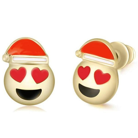 Heart Eyes Emoji Stud Statement Earrings Ideas - www.MyBodiArt - Heart Eyes Santa Claus - Christmas Stocking Stuffers Gifts