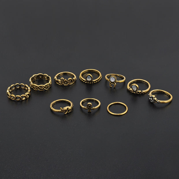 Monet Boho Vintage Stackable Rings Set 10pcs in Gold - www.MyBodiArt.com