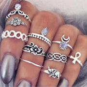 Monet Boho Vintage Stackable Rings Set 10pcs in Silver - www.MyBodiArt.com