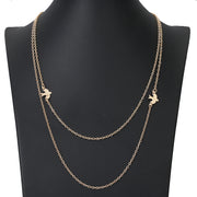 Everly Sparrow Bird Floating Layered Necklace in Gold or Silver - www.MyBodiArt.com