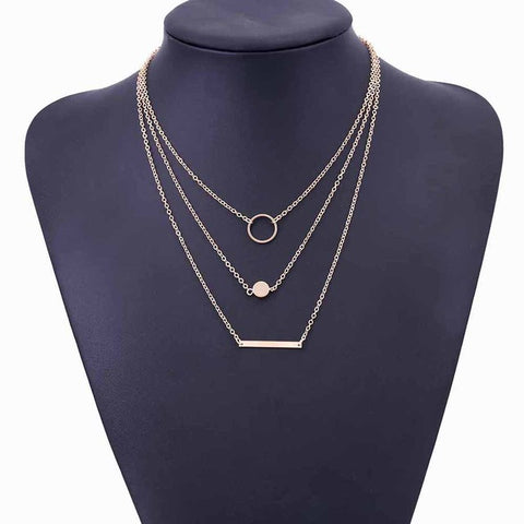 Fashina Triple Layered Geometric Choker Necklace in Silver or Gold - www.MyBodiArt.com