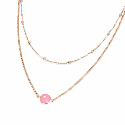 Felicia Opal Gemstone Layered Choker Necklace in Gold Pink Opal - www.MyBodiArt.com
