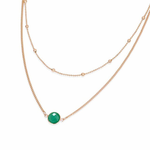 Felicia Opal Gemstone Layered Choker Necklace in Gold Emerald - www.MyBodiArt.com