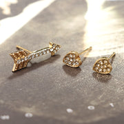 Hasley Crystal Heart & Arrow Earring Set in Gold 3pcs - www.MyBodiArt.com