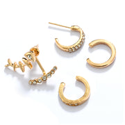 Bubba Fish Bones Ear Jacket Ear Cuff Earring Set 4pcs in Gold