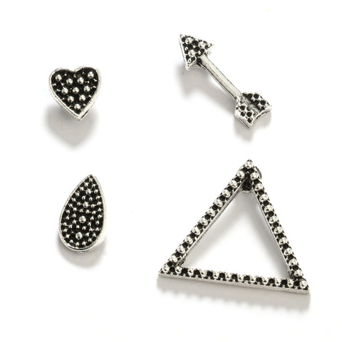 Nala Geometric Shapes Ear Cuff Earring Set 4pcs in Antiqued Brass - www.MyBodiArt.com