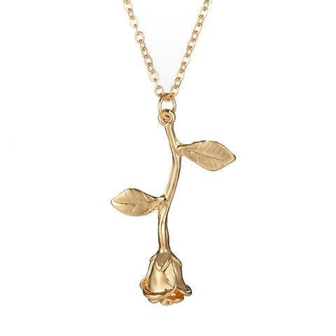 Roselina Simple Single Rose Pendant Necklace in Silver Gold Rose Gold - www.MyBodiArt.com