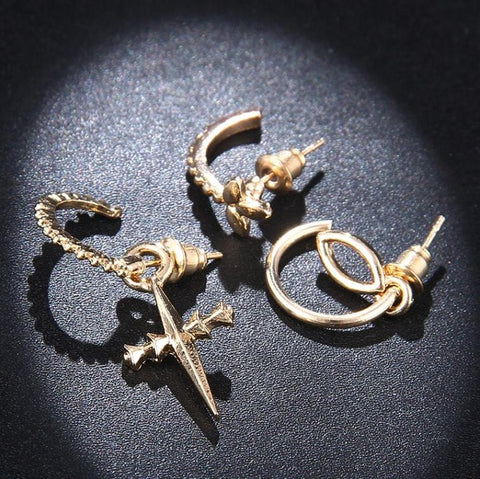 Charity Geometric Cross Earring Set in Gold 3pcs - www.MyBodiArt.com