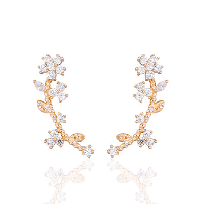 Jacinta Crystal Flower Ear Climber Earring in Gold or Silver - www.MyBodiArt.com