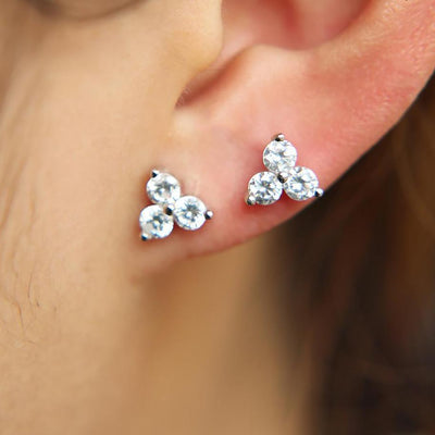 Triple Crystal Trinity Ear Piercing Jewelry Stud for Cartilage, Helix, Tragus, Conch Earring Labret Medusa - www.MyBodiArt