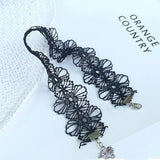 Chokers for Women - Sexy Black Floral Flower Lace Choker Necklace and Bracelet Set Perfect for Clubbing Parties at MyBodiArt.com