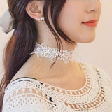 White Floral Flower Bridal Bridesmaid Choker Necklace and Bracelet Set at MyBodiArt.com